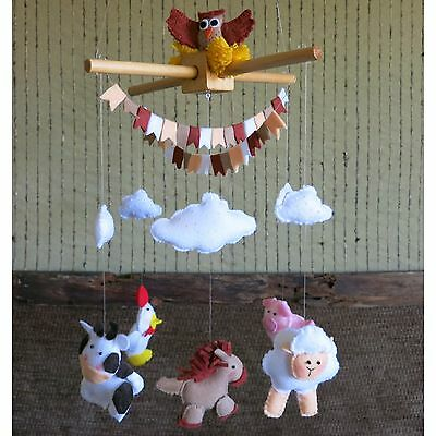 Baby Mobile with Farm Animals, Nursery Decor Baby Shower Gift ()