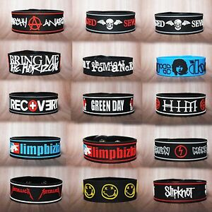ROCK-BAND-MUSIC-LOGO-RUBBER-WRISTBAND-BRACELET-CUFF-MEMORABILIA-COLLCTION