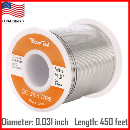"60/40 Tin Lead Rosin Core Solder Wire Electrical Sn60 Pb40 Flux .032""/0.8mm 1lb"