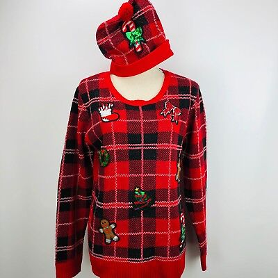 Ugly Christmas Sweater Large Plaid Embroidered Matching Hat Sequins - Matching Christmas Sweaters