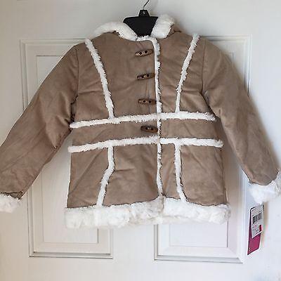 Girls Shearling Hooded Coat Faux Suede Jacket Faux Fur Outdoor Sizes 4 & 5 - Girls Faux Shearling Coats