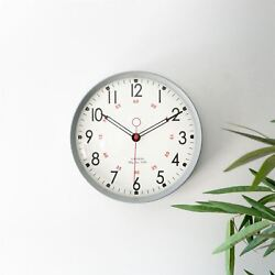 Retro Metal Kitchen Wall Clock - 12in - Grey Home Office Kitchen Clocks