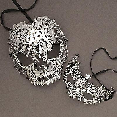 Silver Full Face Metal Evil Skull & Venetian Masquerade Eye Masks - Venetian Full Face Mask