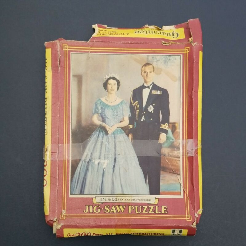 Rare Vintage Jigsaw -- H/M The QUEEN H.R.H. Duke of Edinburgh COMPLETE 1950s