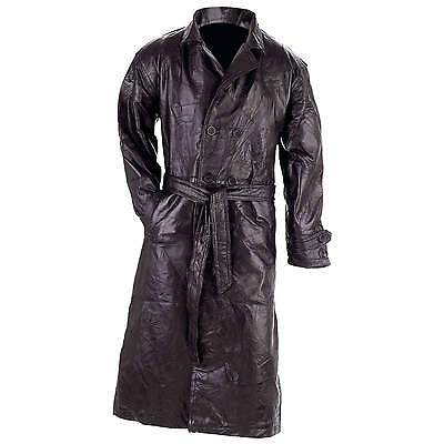 Man's Trench Coat Genuine Leather Full Length by Giovanni Navarre® Sizes M to 4X