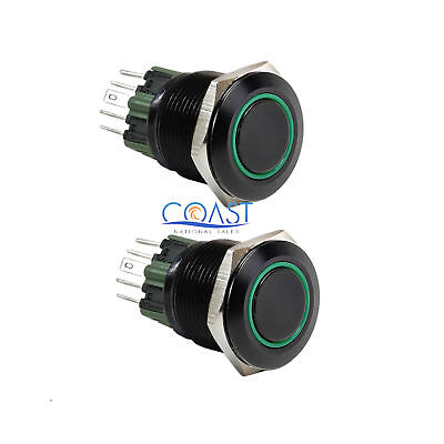 2x Durable 12v 25mm Car Push Button Green Angel Eye Led Latching Light Switch