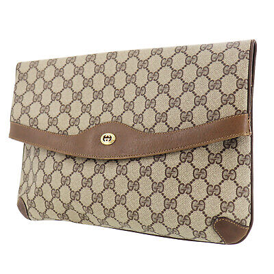 GUCCI GG Plus Clutch Bag Brown PVC Leather Vintage Italy Authentic #OO949 Y