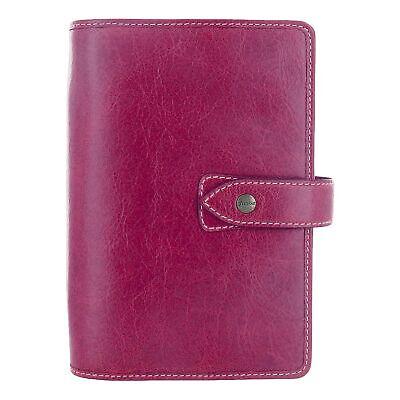 Filofax Malden Fuchsia Personal Size Leather Organizer Agenda Planner Ring Bi...