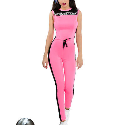 Ocassion Damen Overall Jumpsuit Catsuit Einteiler Fitness Hosenanzug - Pink Catsuit