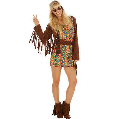 Disco Hippie Blumen Kostüm Frauen Karneval Fasching Halloween 70er inkl. (Halloween Kostüm)