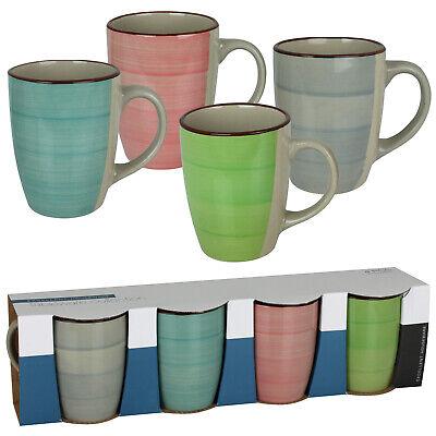 4er Kaffeetassen Set bunt Cappuccino Espresso Tassen Porzellan Kaffeebecher groß