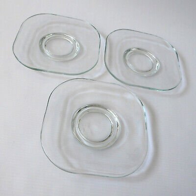 3x Joe Colombo Arno spare saucers, Italian clear pressed glass square. Vintage