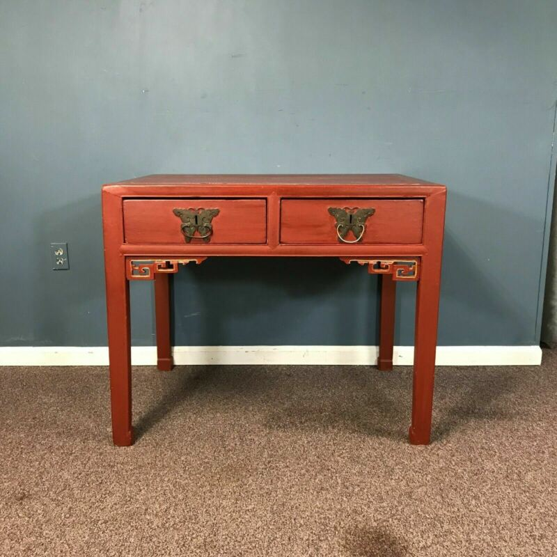 Red Lacquered Chinese 2 Drawer Server Table