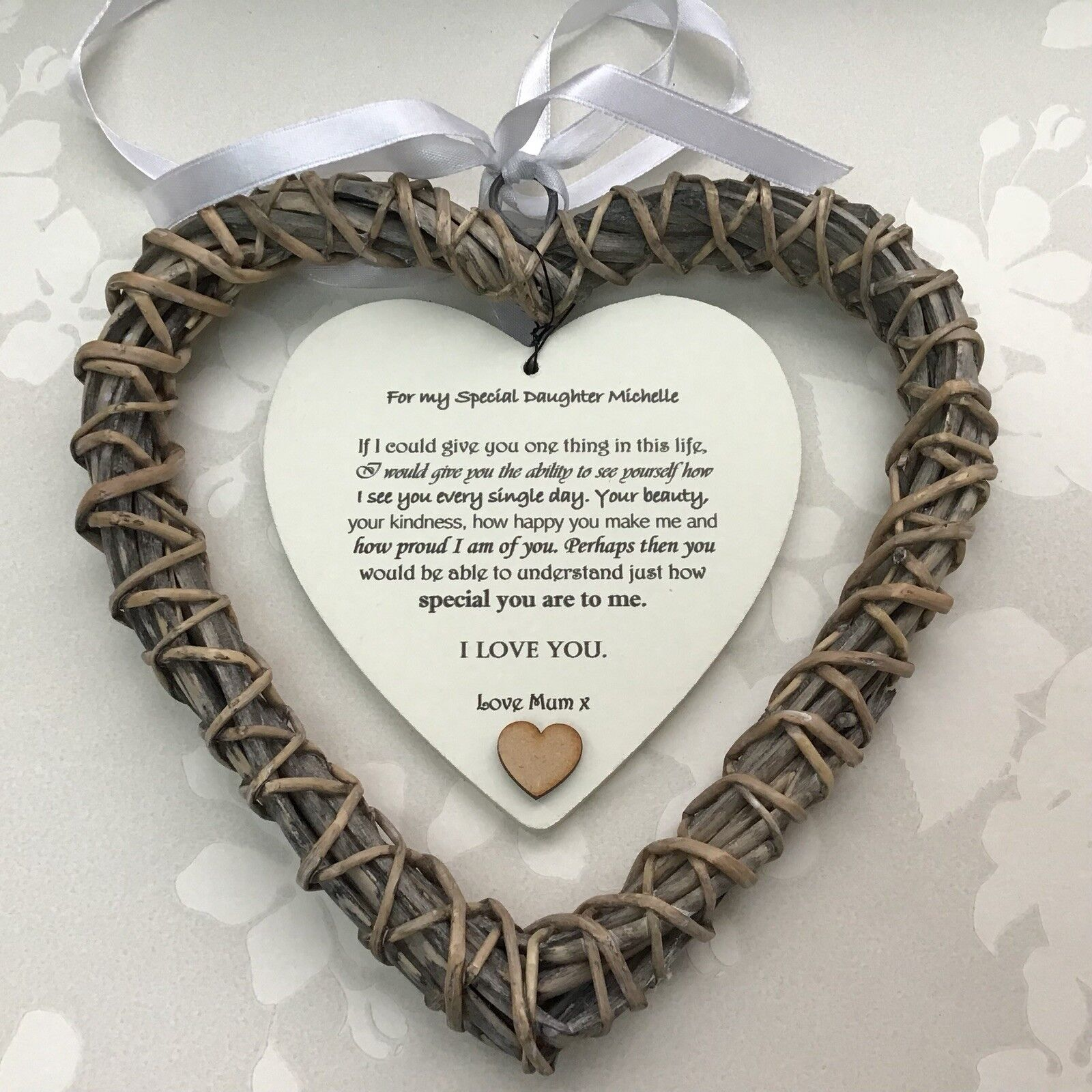 Shabby personalised Chic Special DAUGHTER Present ~ ANY NAME ~ Willow Heart Gift