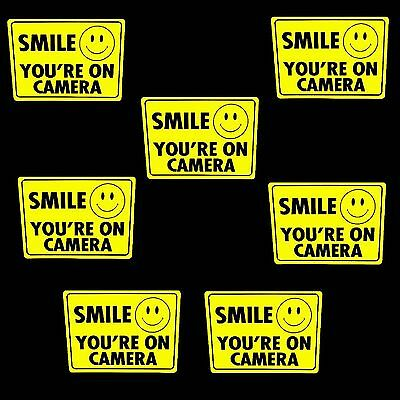 Security Warning Stickers Decals Signs Smile Video Surveillance In Use Home Auto