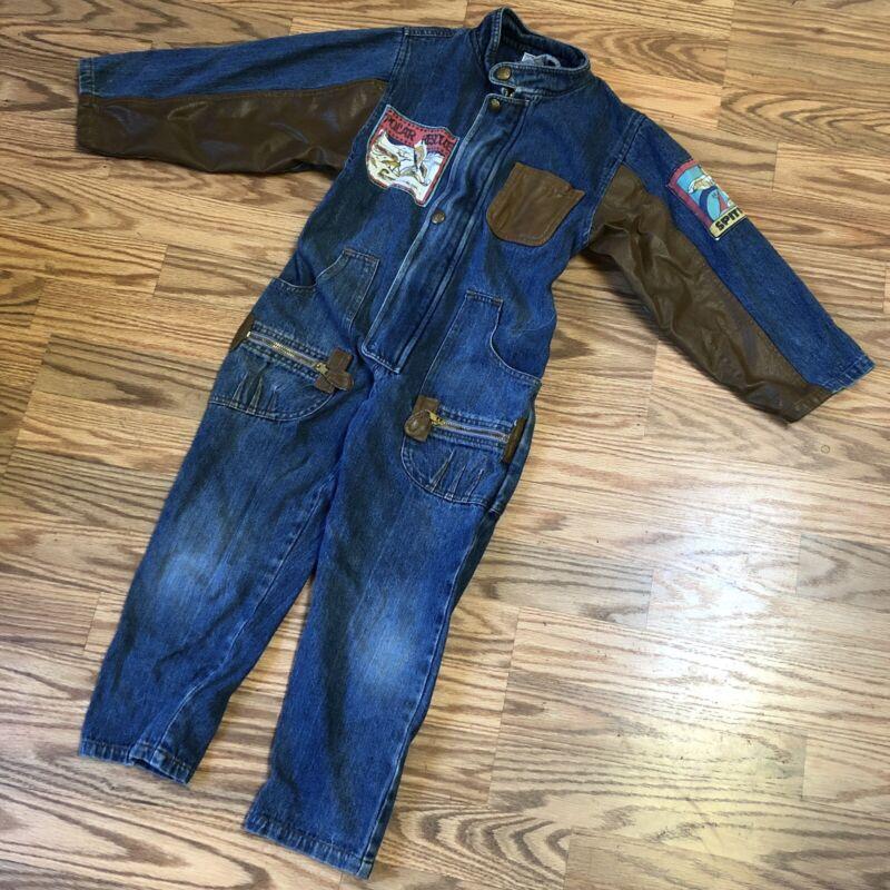 VINTAGE Denim jumpsuit One piece FLIGHT SUIT AVIATOR Patches Boys Size 6