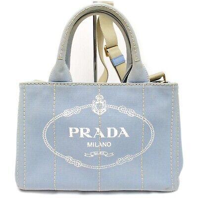 Authentic Prada Hand Bag CANAPA Tote 2way Light Blue Canvas 1601573