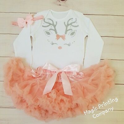 Reindeer Rudolph Outfit Tutu Costume dusky peach top set  (Rudolph Outfit)