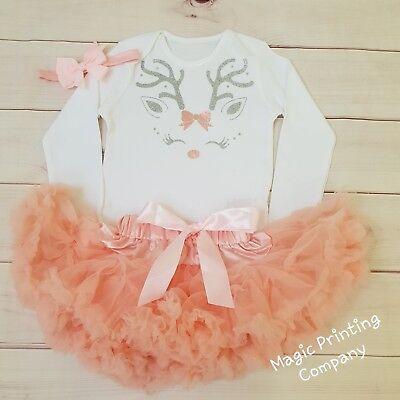 Baby Girls Christmas Reindeer Rudolph Outfit Tutu Costume dusky peach top set