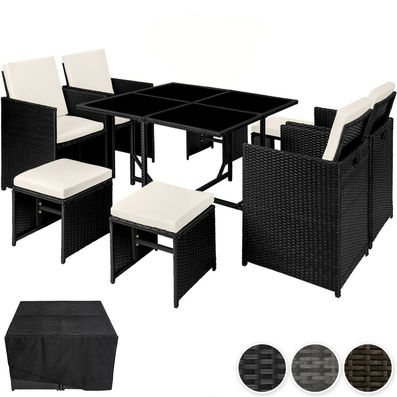 Garden Furniture - Rattan Garden Furniture Set Cube  Wicker 8 Seater Table Cushions Dining Set new