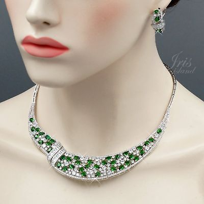 Platinum Plated Green Cubic Zirconia Necklace Earrings Wedding Jewelry Set 955 ()