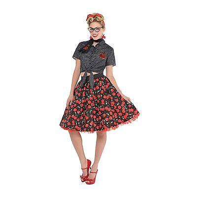 Ladies 50s Pin Up Rock N Roll Vintage Rockabilly Petticoat Skirt Fancy - Vintage Pin Up Kostüm