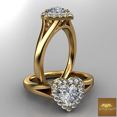Halo Pave Set Heart Cut Diamond Engagement Ring GIA H VS2 18k Yellow Gold 0.70Ct