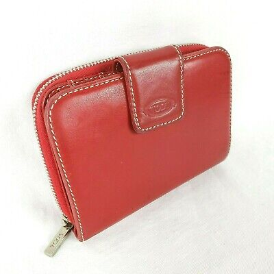 Tods Womens Leather Zip Around Silver Tone Mini Wallet Red Made in Italy