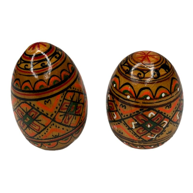 Easter Eggs Vintage Set of 2 Brown Wood Hand Painted Wooden