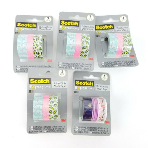 Scotch Expressions Washi Tape - 5 Packs with15 Rolls Total - SEALED