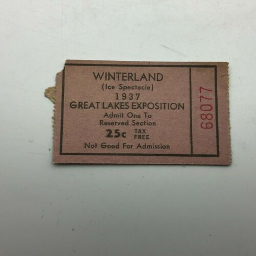 1937 Winterland Ice Spectacle Green Lakes Exposition Ticket Stub Vintage  M6