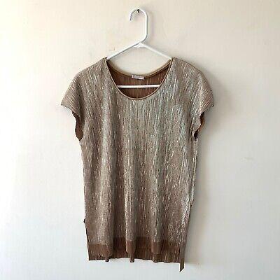 Zara Gold Metallic Pleated Short Sleeve Blouse Top Size Medium