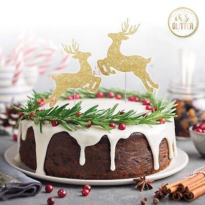 Christmas cake topper merry Christmas glitter gold deer xmas stag reindeer cake