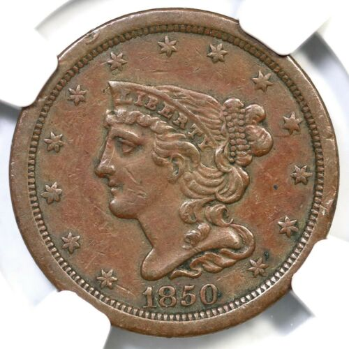 1850 C-1 NGC XF Details Braided Hair Half Cent Coin 1/2c