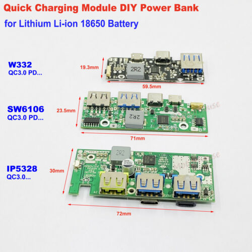 QC3.0 Type-c USB Lithium Li-ion 18650 Battery Fast Charger Module DIY Power Bank