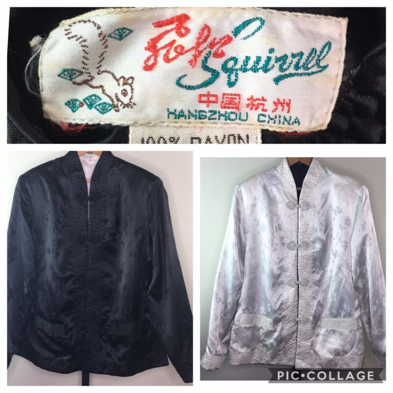 "Solz Squirrel Satin Reversible Asian Jacket 42"" Black White Chinese Traditional"