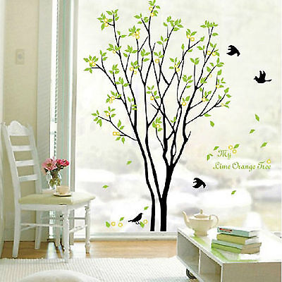 Green Tree Bird DIY Removable Vinyl Art Wall Sticker Decal Mural Home Room Decor