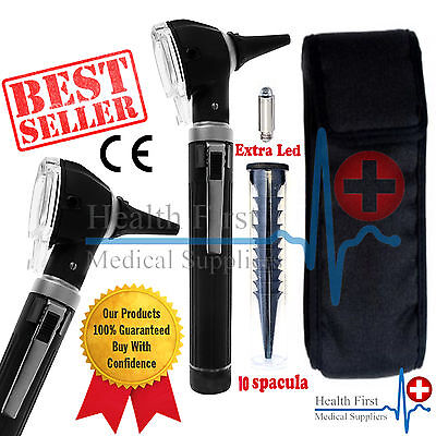 Black Otoscope Fiber Optic Medical Diagnostic Examination Ear Otoscope  Ce