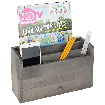 Rustic Gray Wood Desktop Office Document Mail Organizer With Pull Out Drawer