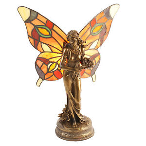 Art Deco vintage Tiffany stained glass fairy lady figurine lamp light bronze