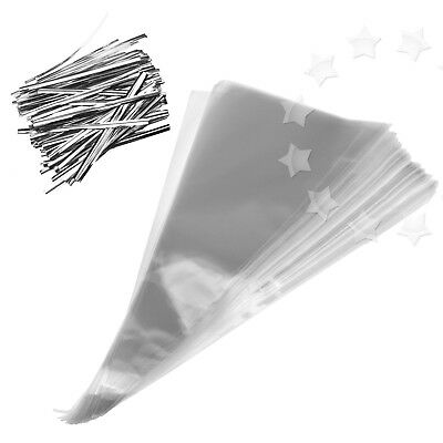 Cone Shaped Bags (100 x Clear Cellophane Cone Shaped Bags Sweet Candy Party Favor Gift)