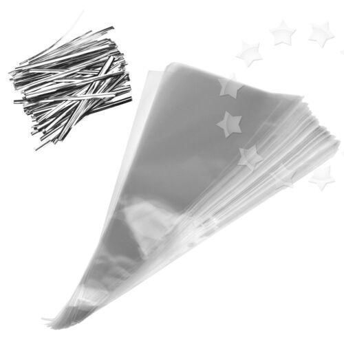 100 x Clear Cellophane Cone Shaped Bags Sweet Candy Party