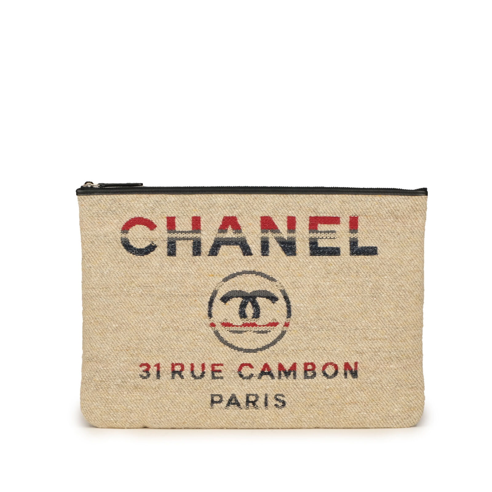 New 2019 Chanel Deauville Stripe Canvas Tweed Large O Case Pouch Clutch Bag
