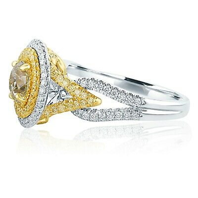 GIA Certified 1.59 Ct Yellow VS1 Round Diamond Engagement Ring 18k White Gold 1