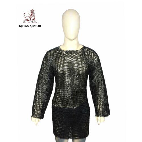 Riveted Chain Mail Shirt Black Medium Hauberk Medieval Chainmail Armor Costume