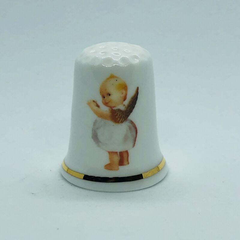 Vtg Gimbel & Sons Fine Bone China Kewpie Advertising Thimble w/ Baby Angel Doll