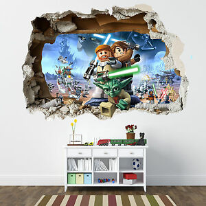 Lego star wars smashed wall sticker bedroom boys girls for Decoration chambre lego
