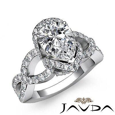 1.8ctw Cross Shank Sidestone Pear Diamond Engagement Ring GIA E-SI1 White Gold