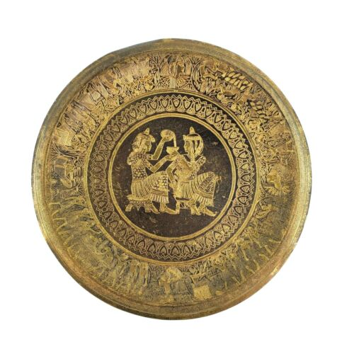"""Vintage 9.5"""" Brass Plate Egyptian Style Pharaoh Drinking Image Wall Art Deco"""