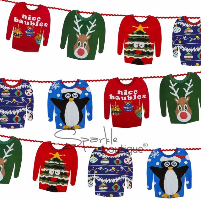 CHRISTMAS JUMPER BUNTING - Double Sided Sweater Garland/Banner -Xmas Decoration